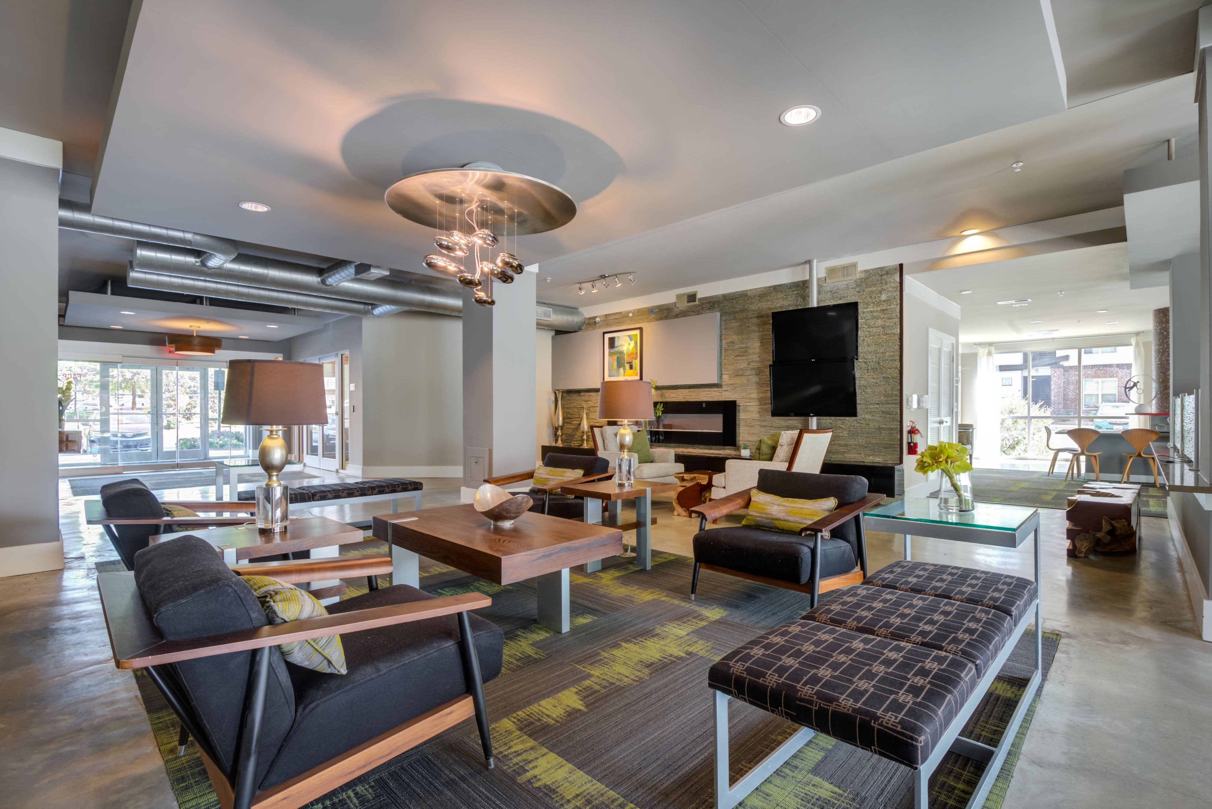 Luxury clubhouse at Celsius Apartment Homes in Charlotte, North Carolina