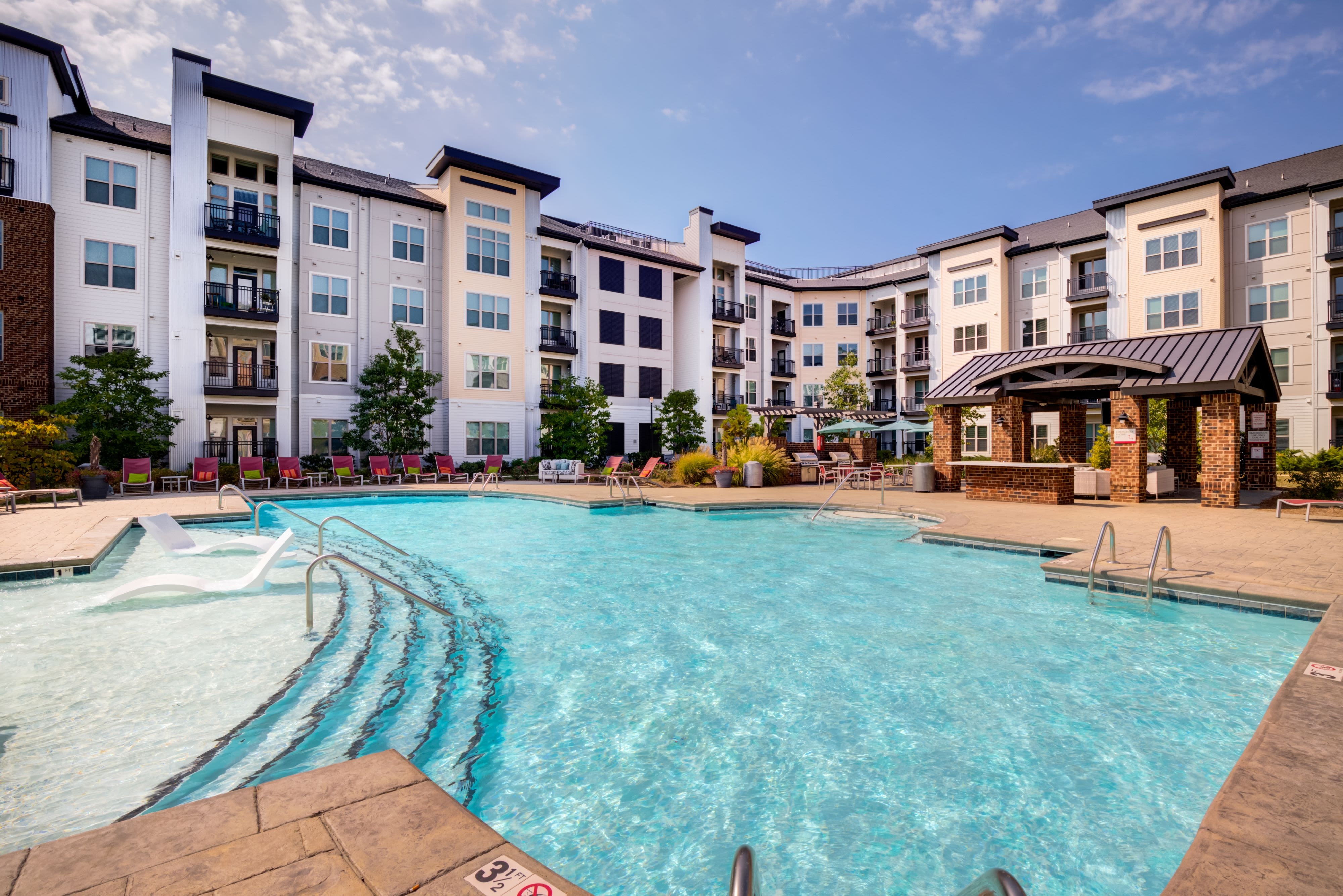 Sparkling pool at Celsius Apartment Homes in Charlotte, North Carolina