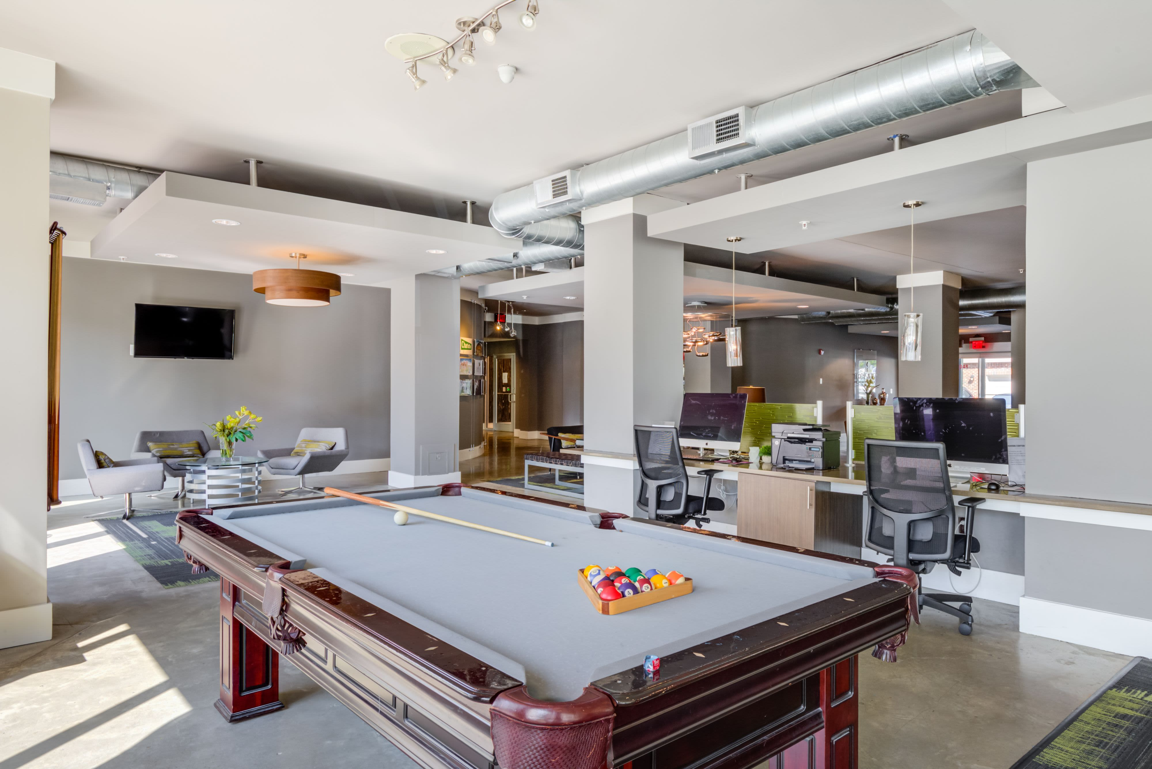 Billiards table at Celsius Apartment Homes in Charlotte, North Carolina