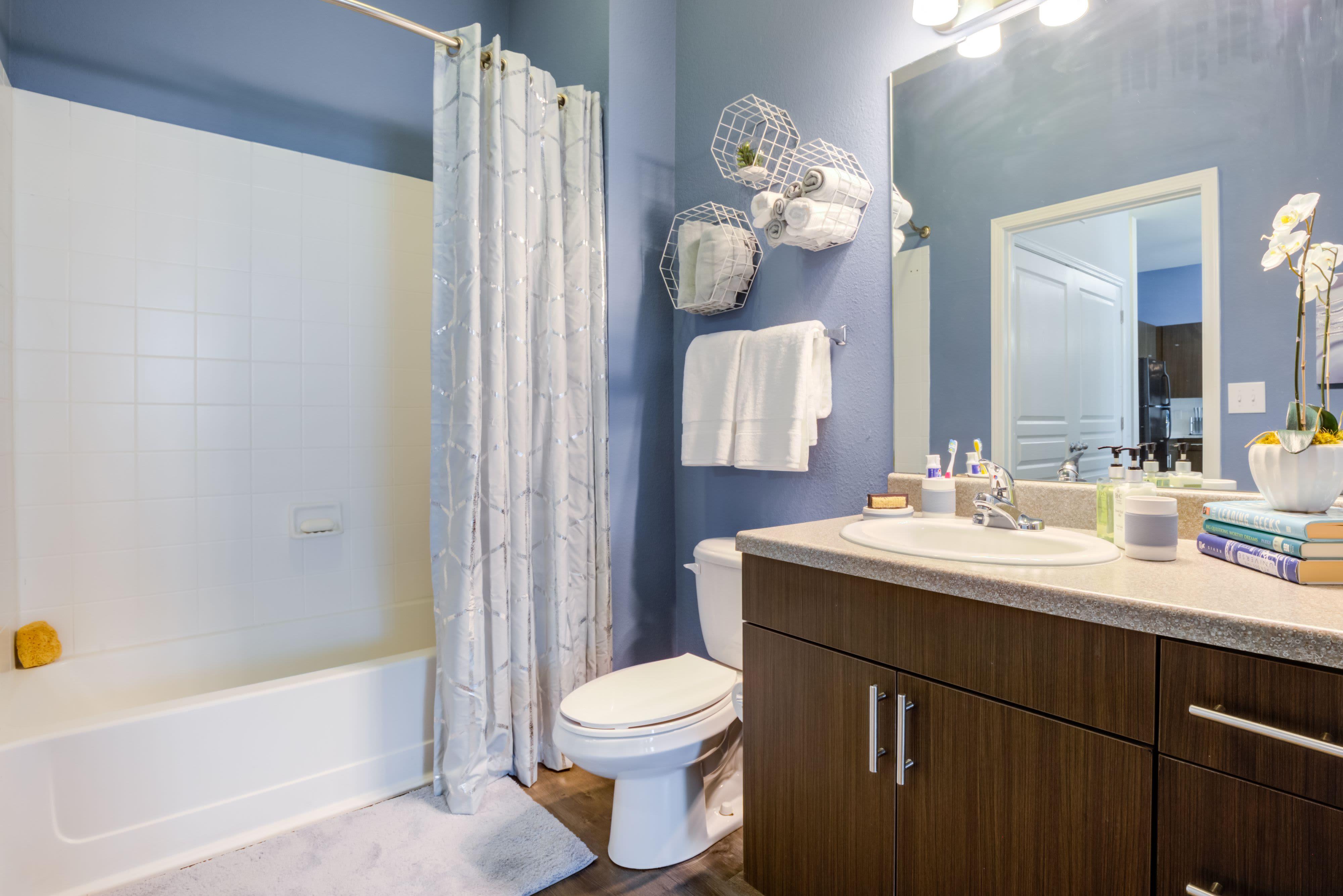 Model bathroom at Celsius Apartment Homes in Charlotte, North Carolina