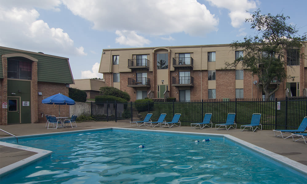 Sparkling swimming pool at Arbors of Battle Creek Apartments & Townhomes in Battle Creek, Michigan