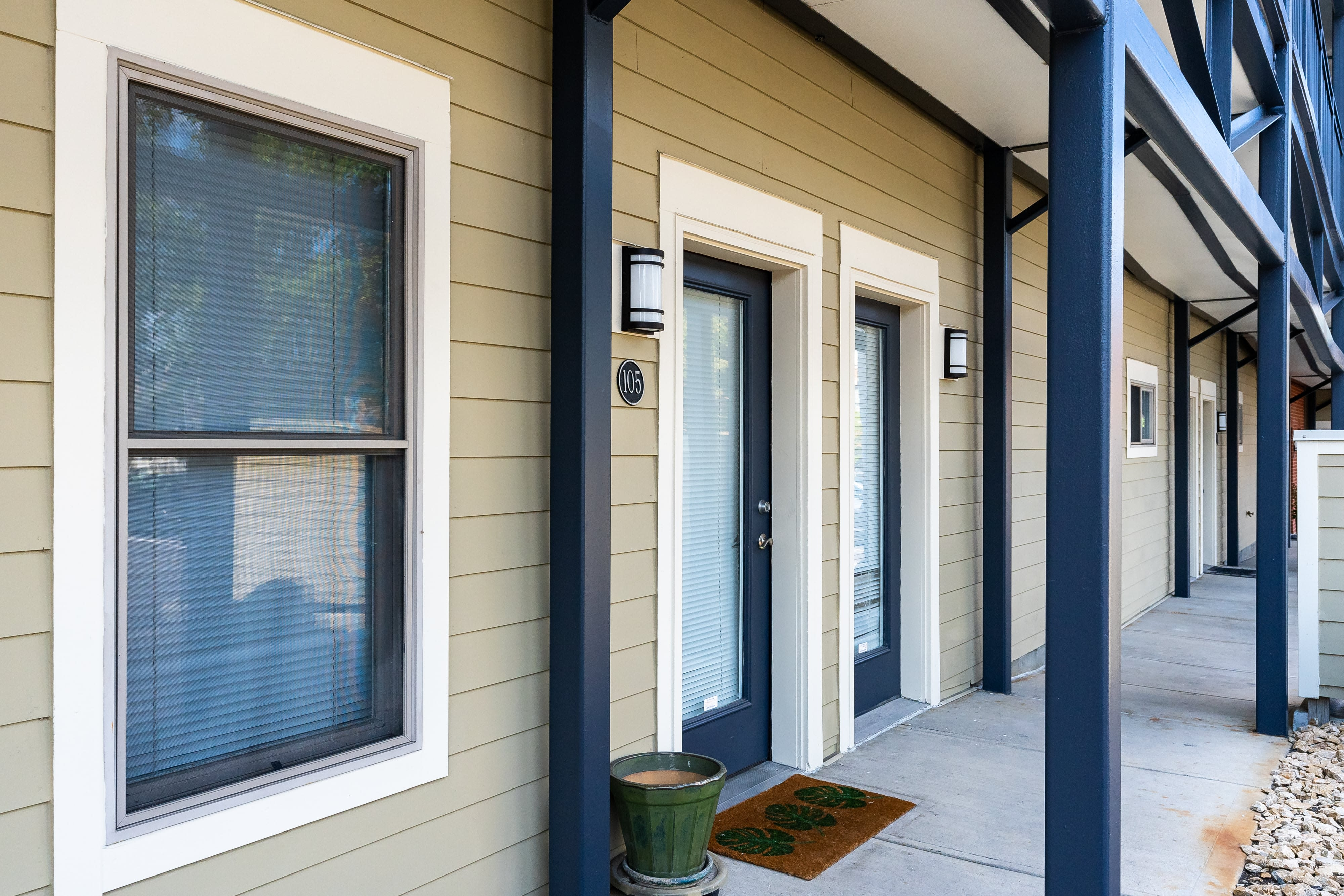 Apartment front doors at Seminary Square Lofts in Covington, Kentucky