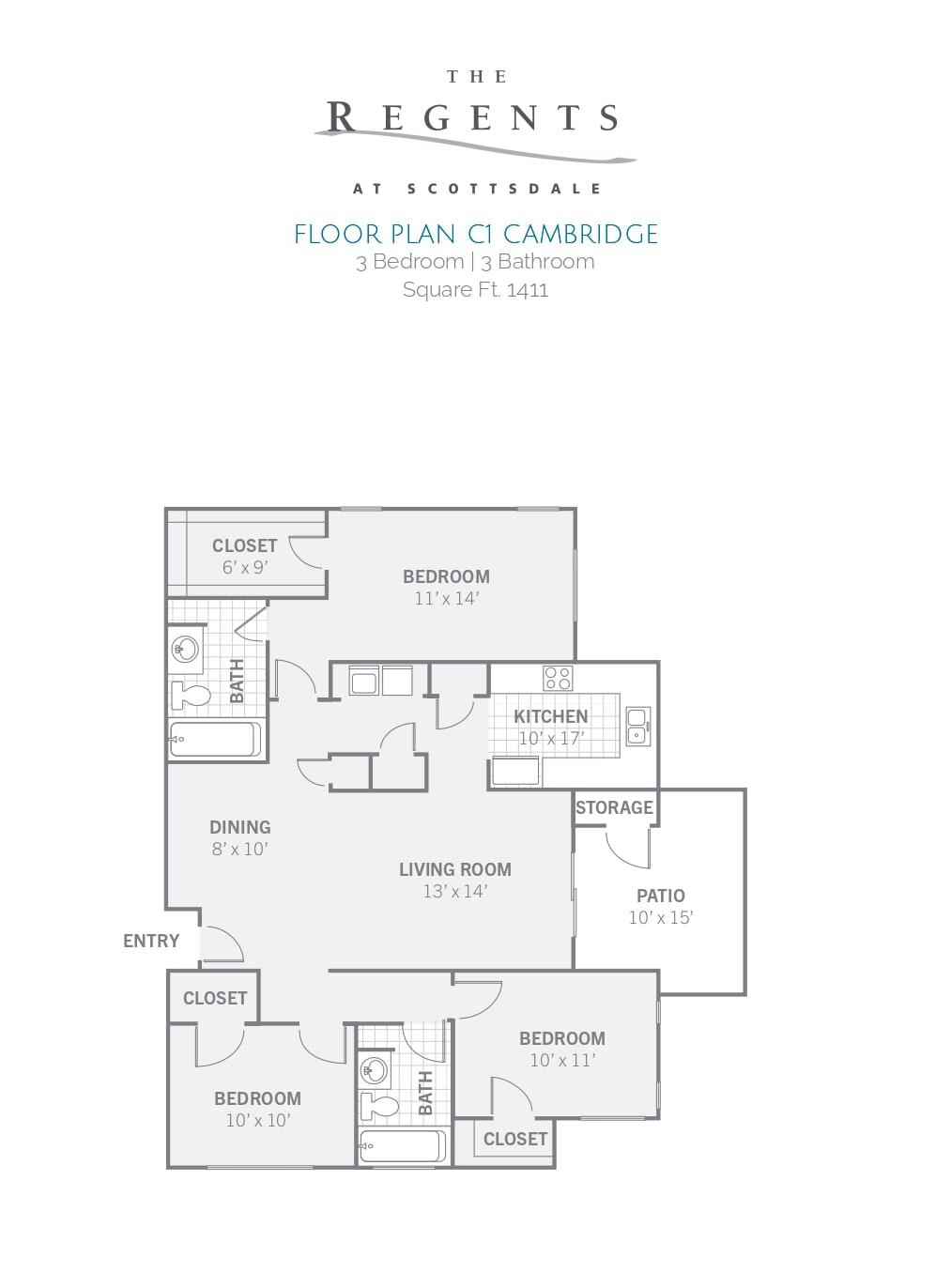 3 Bedroom   3 Bathroom Square Ft. 1411