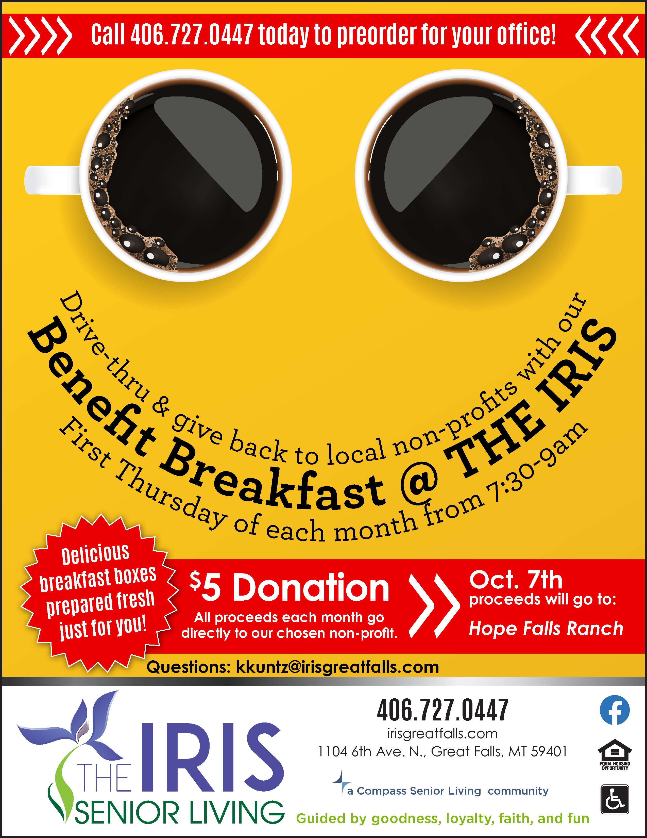 Benefit Breakfast Flyer - First Thursday Every Month