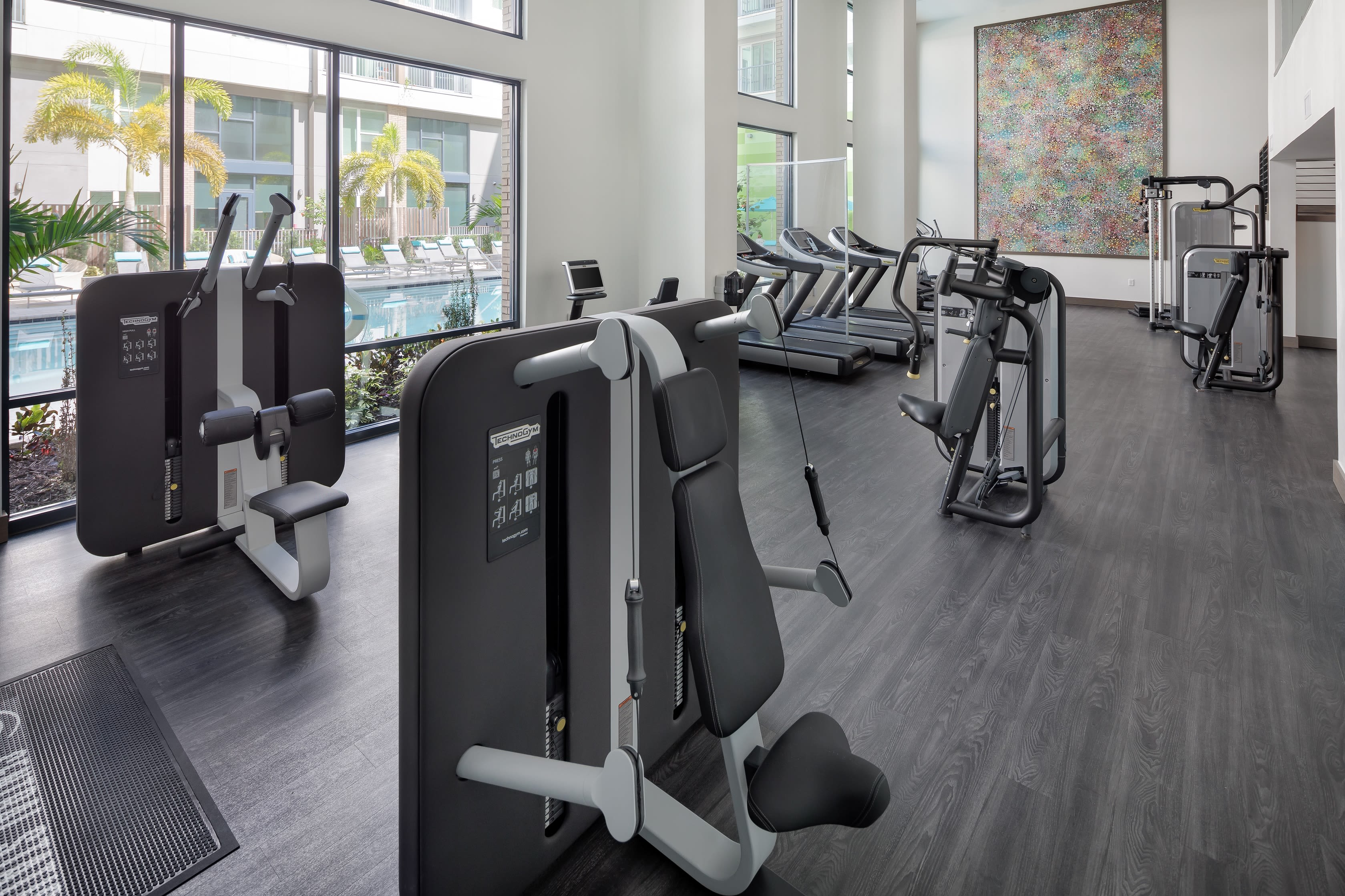 Fitness center in an apartment at Central Station on Orange in Orlando, Florida