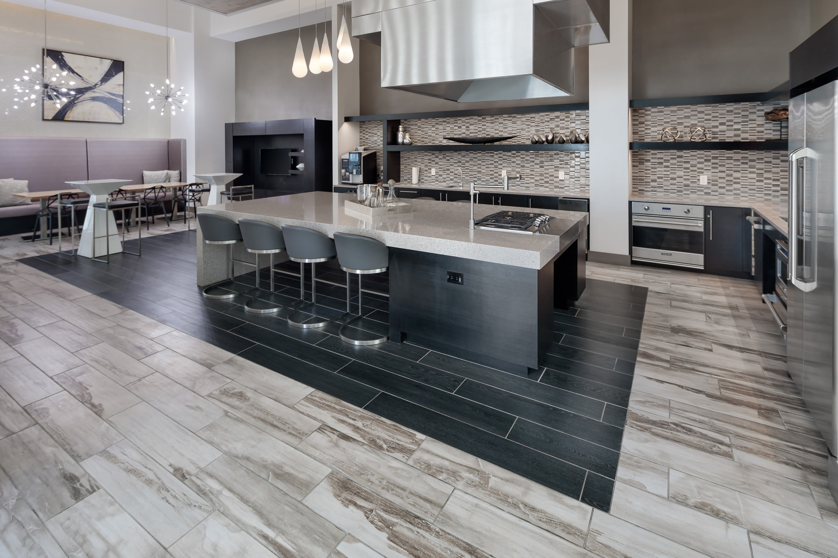 Clubhouse kitchen for residents at Central Station on Orange in Orlando, Florida