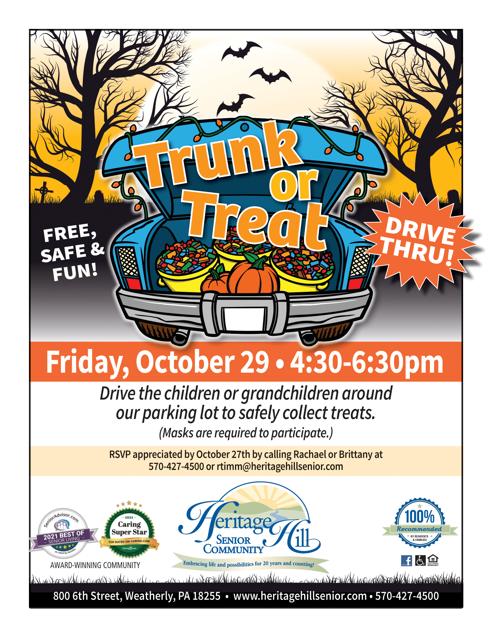 Trunk or treat flyer for Heritage Hill Senior Community