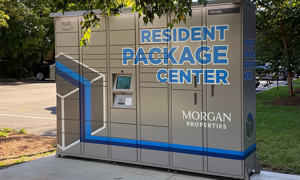 Package hub at Hillside Gardens Apartment Homes in Nutley, New Jersey