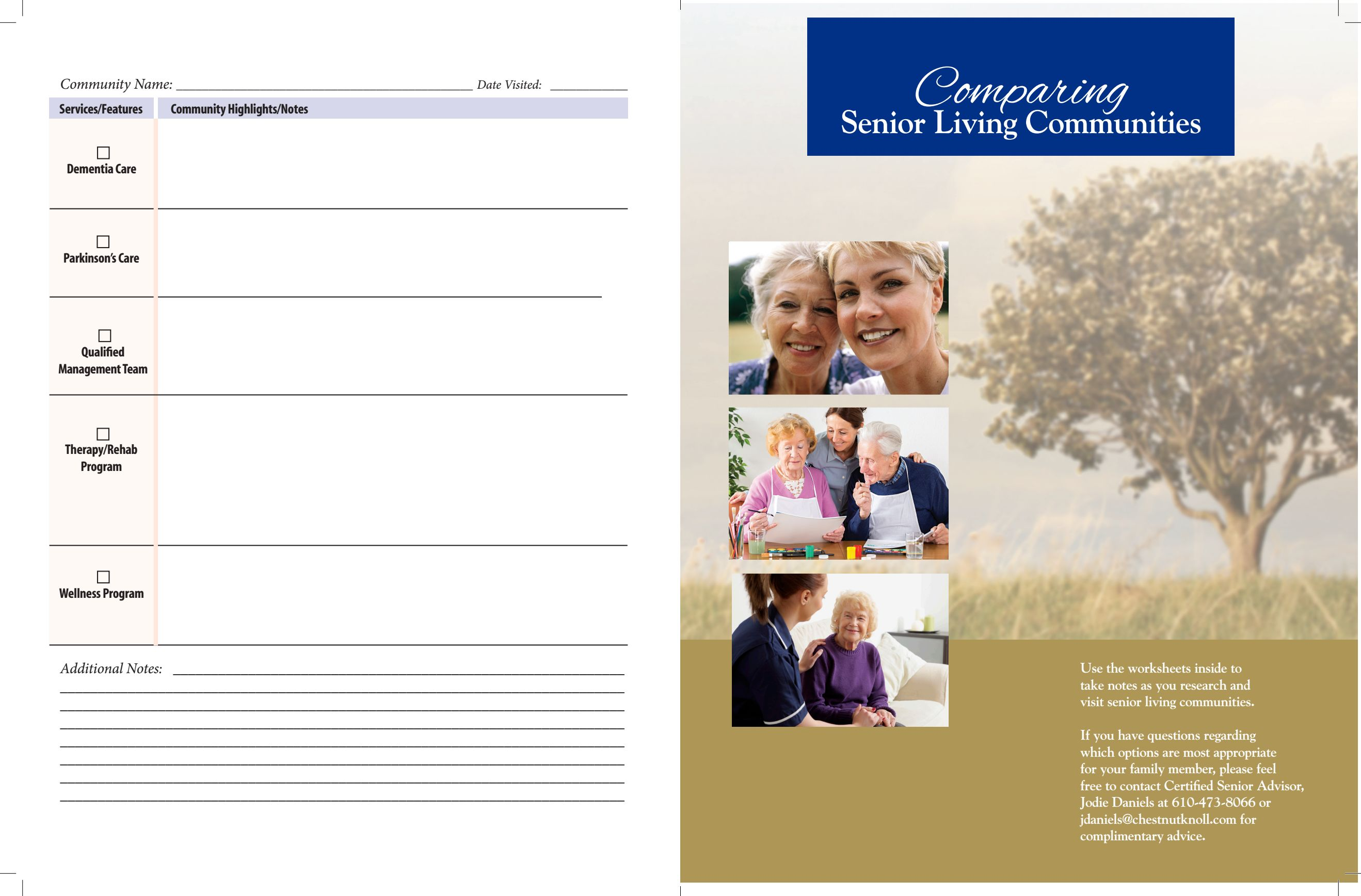 Download the comparison booklet from Chestnut Knoll in Boyertown, Pennsylvania
