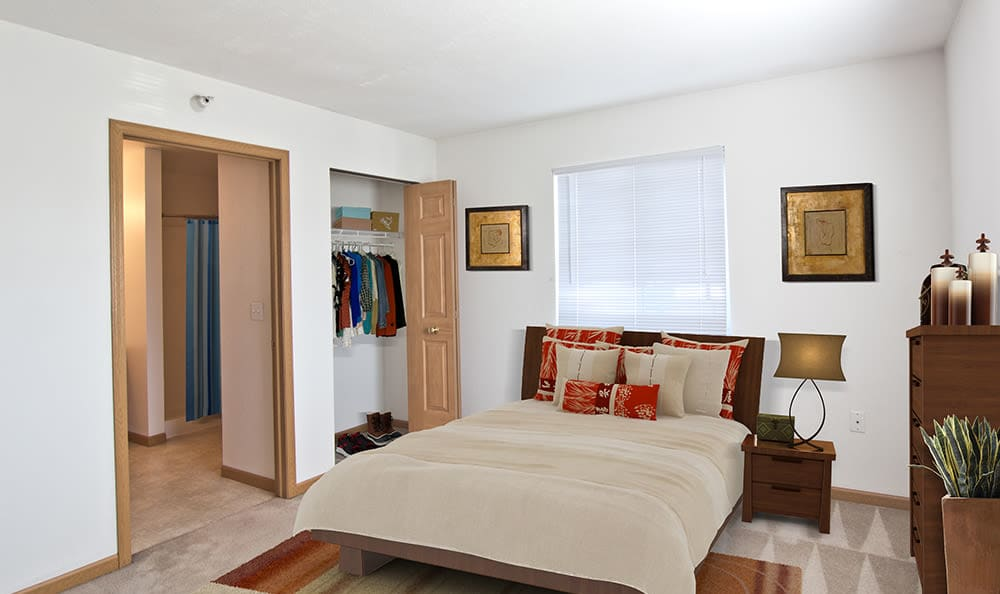 Spacious bedroom at Steeplechase Apartments & Townhomes in Toledo, Ohio