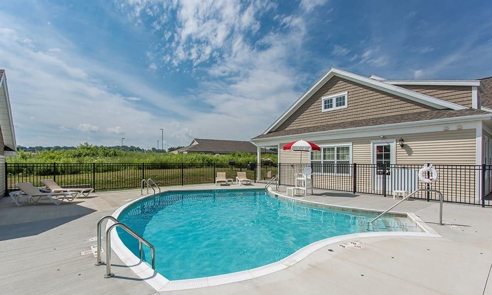 Sparkling swimming pool at Canal Crossing in Camillus, New York