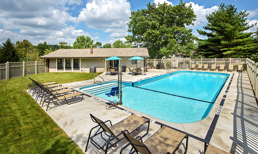 Sparkling swimming pool at Nineteen North Apartments in Pittsburgh, Pennsylvania