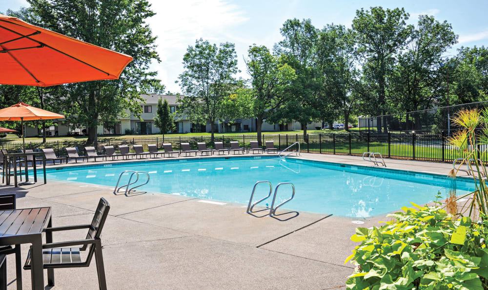 Sparkling swimming pool at Penbrooke Meadows in Penfield, New York