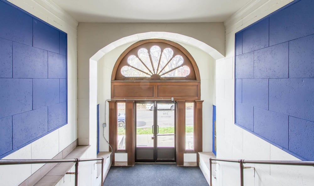 Entry at Mayflower Apartments in Rochester, New York