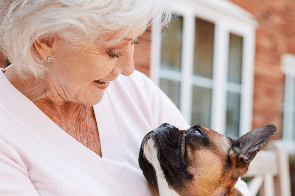 Resident sitting outside with her small french bulldog at Sunstone Village in Denton, Texas