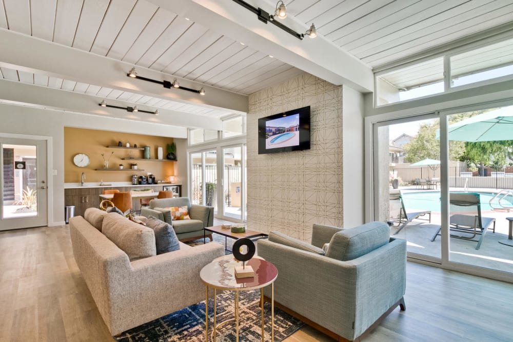 Clubhouse interior at apartments for rent in Mosaic Hayward in Hayward, California