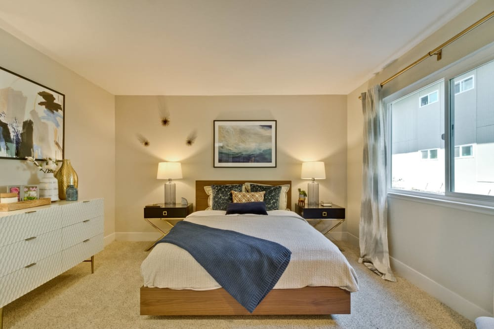 Comfortable bedroom at Mosaic Hayward in Hayward, California