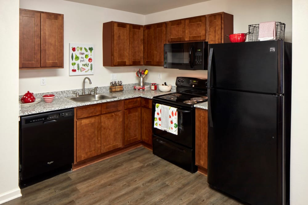 Renovated Kitchen at Trifecta Apartments Featuring Granite and New Appliances