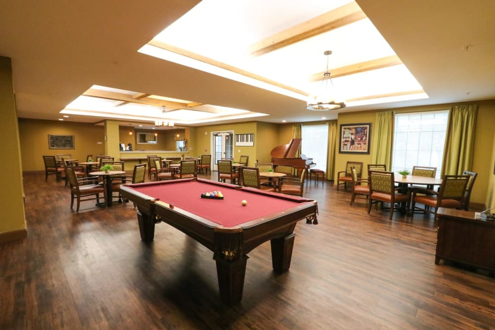 A billiards table in the activity room at Harmony at Reynolds Mountain in Asheville, North Carolina