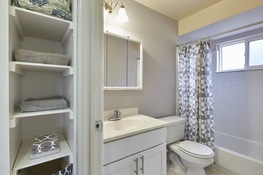 Bathroom with ample storage at President Madison Apartments in Madison Heights, Michigan