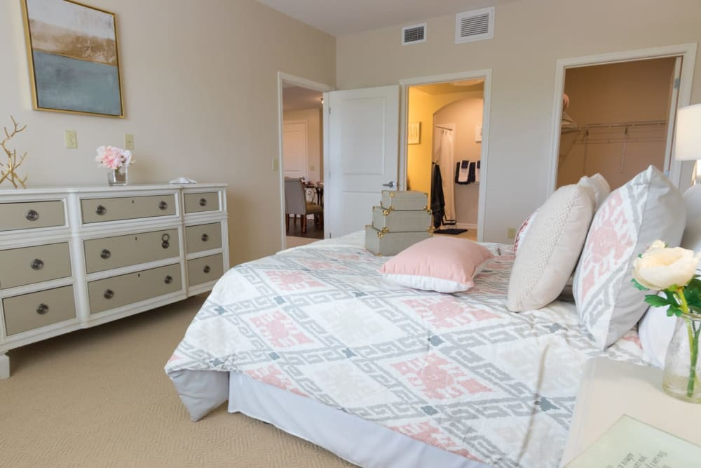 A bedroom and attached bedroom at Harmony at Independence in Virginia Beach, Virginia