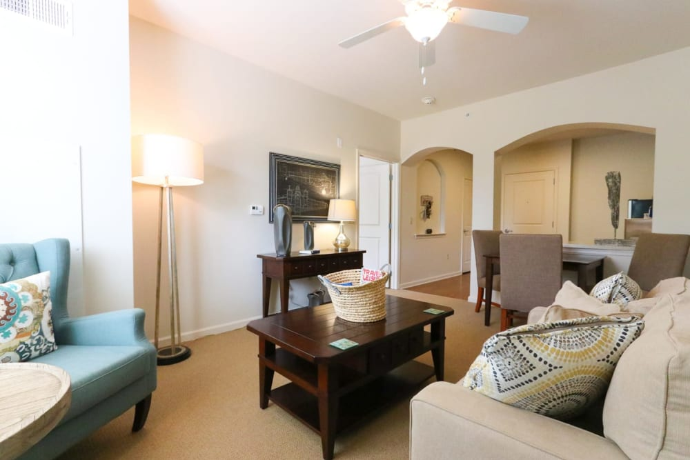 An inviting apartment living room at Harmony on the Peninsula in Yorktown, Virginia