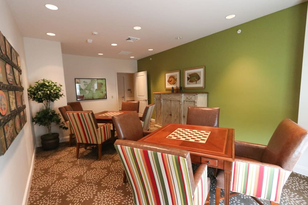 Chess tables in the activity room at Harmony on the Peninsula in Yorktown, Virginia