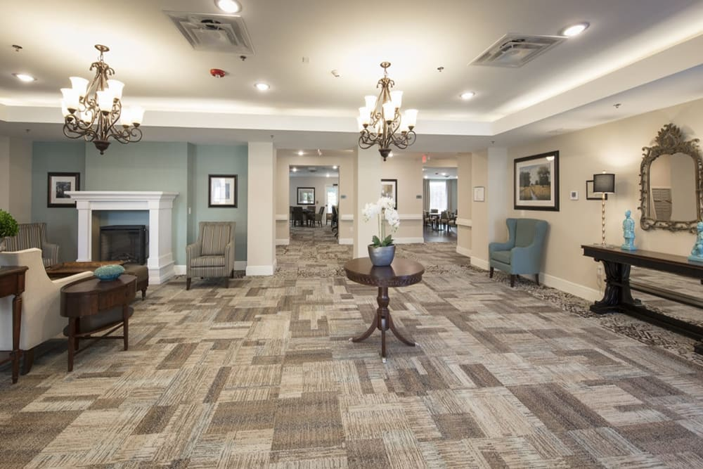 The lobby at Harmony at Wescott Plantation in Summerville, South Carolina