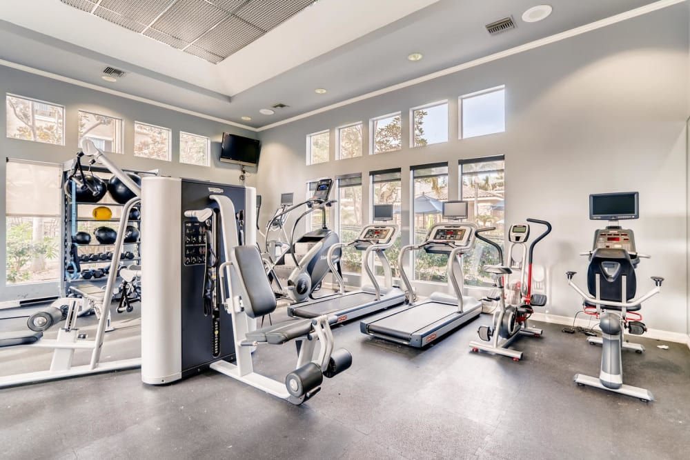 Fitness center with plenty of work stations at Alize at Aliso Viejo Apartment Homes in Aliso Viejo, California