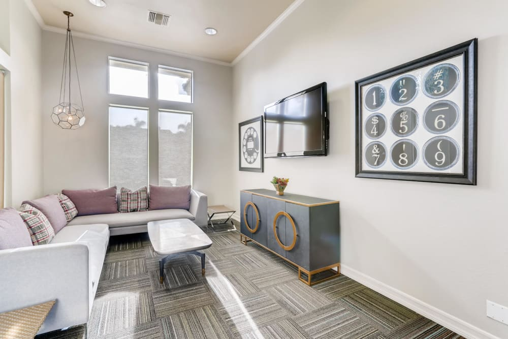 Movie room with comfortable seating at Alize at Aliso Viejo Apartment Homes in Aliso Viejo, California