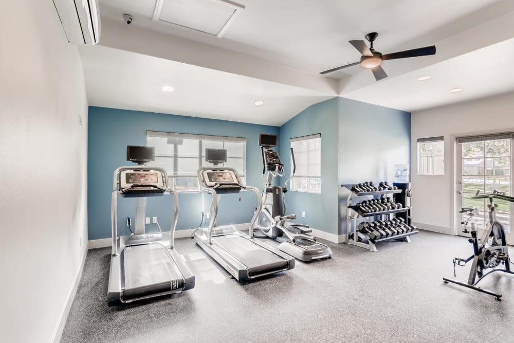 Fitness center with a weight rack at Hidden Hills Condominium Rentals in Laguna Niguel, California