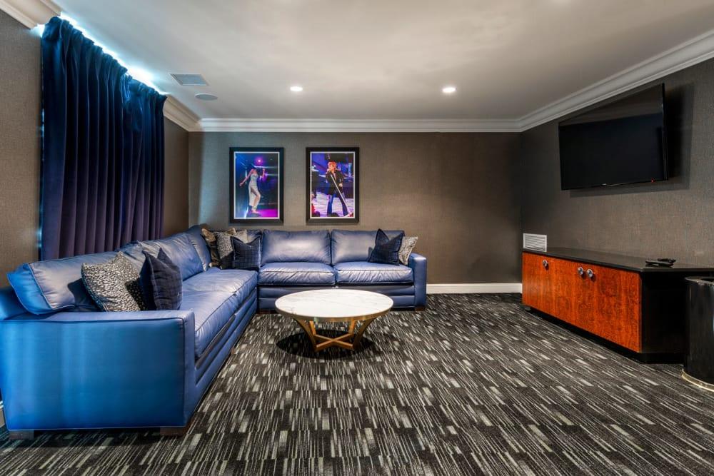 Media lounge at The Royal Athena in Bala Cynwyd, Pennsylvania