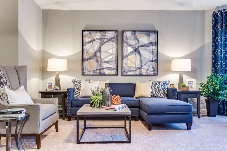 Modern living room at Harrison Grande apartments