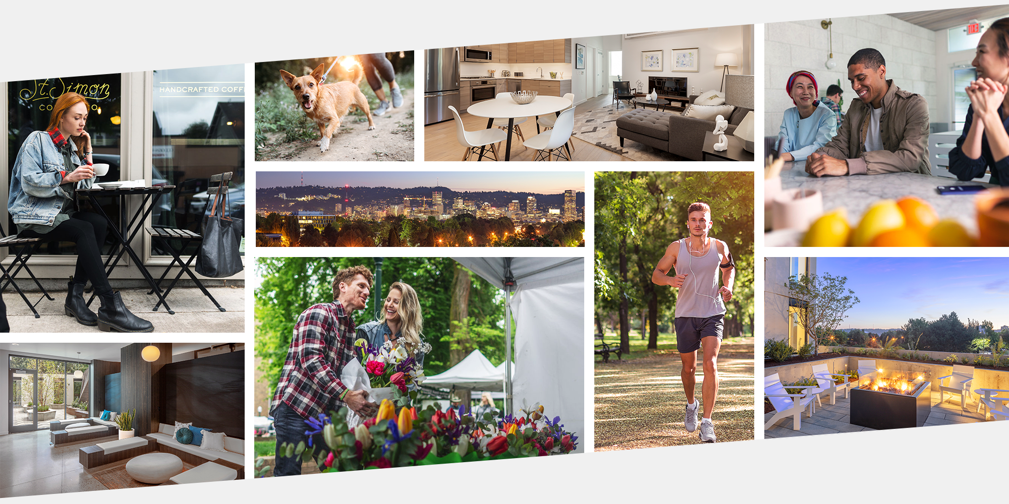 Collage of images displaying the spirit of our neighborhood at TwentyTwenty Apartments in Portland, Oregon