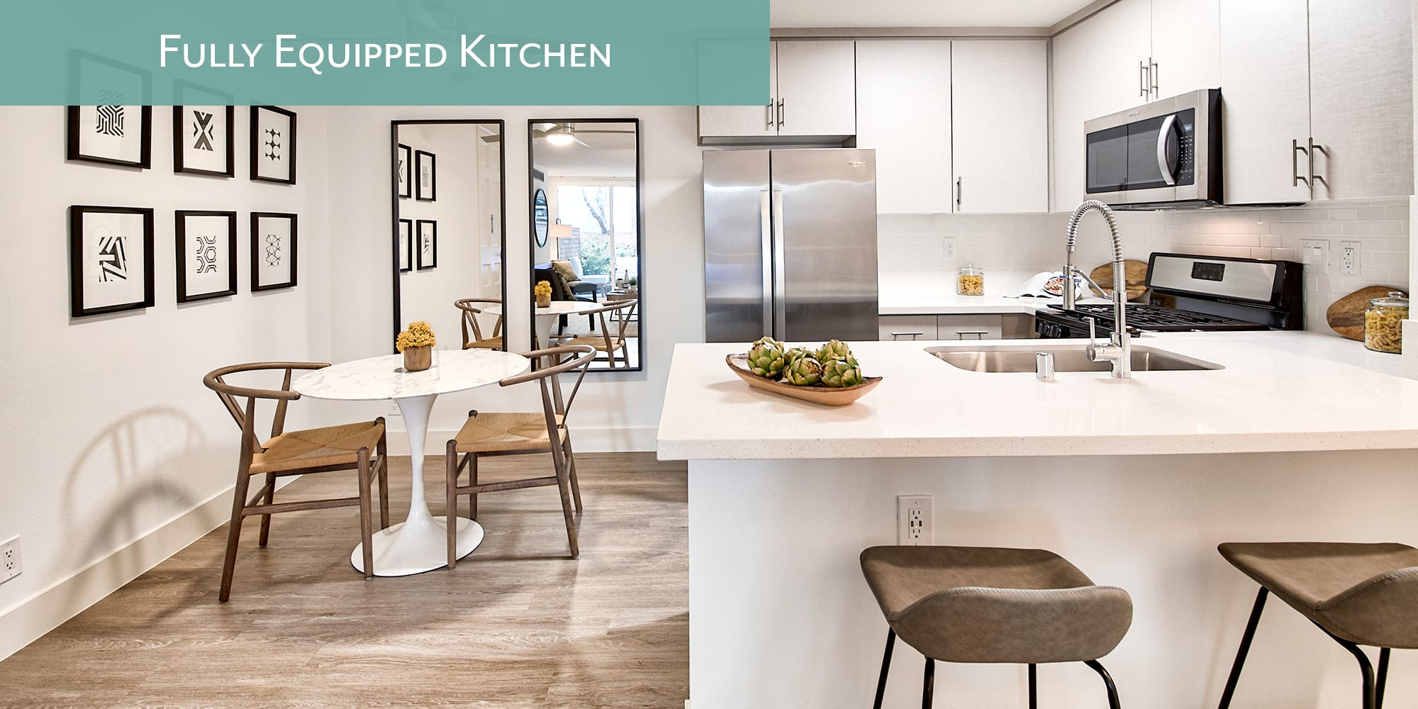 Fully equipped kitchens at The Meadows in Culver City, California