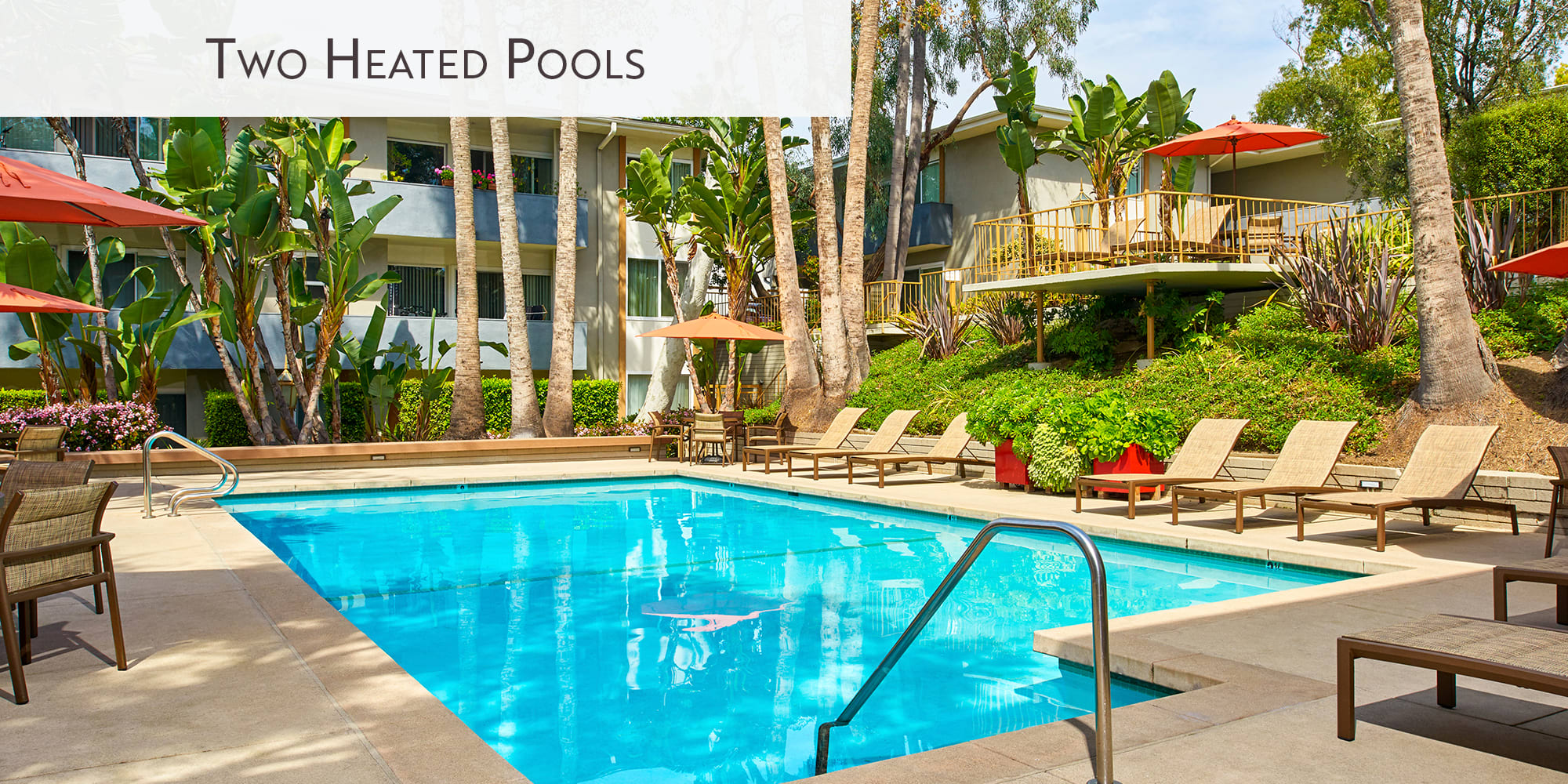 Heated outdoor swimming pool at West Park Village in Los Angeles, California