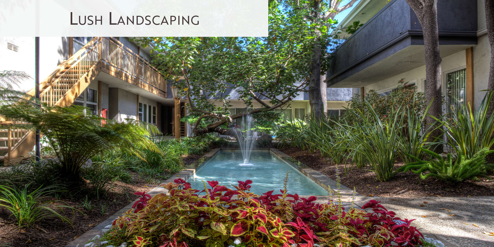 Lush landscaping at West Park Village in Los Angeles, California