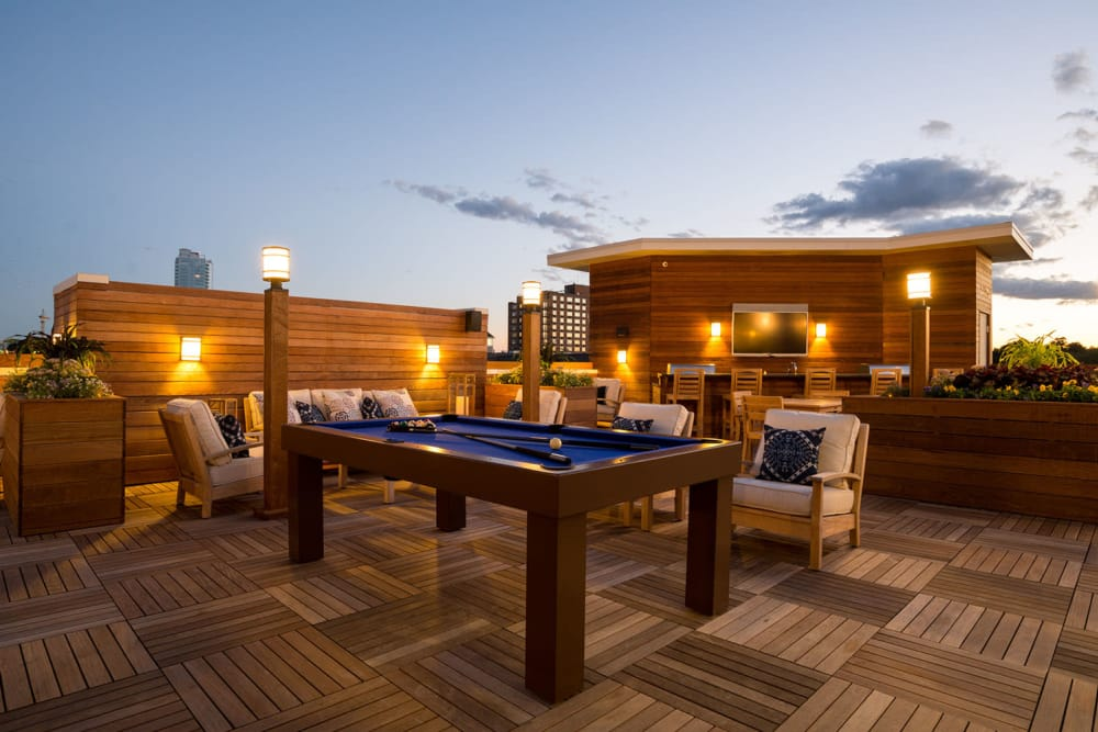 Spacious rooftop patio at The Moderne in Stamford, Connecticut