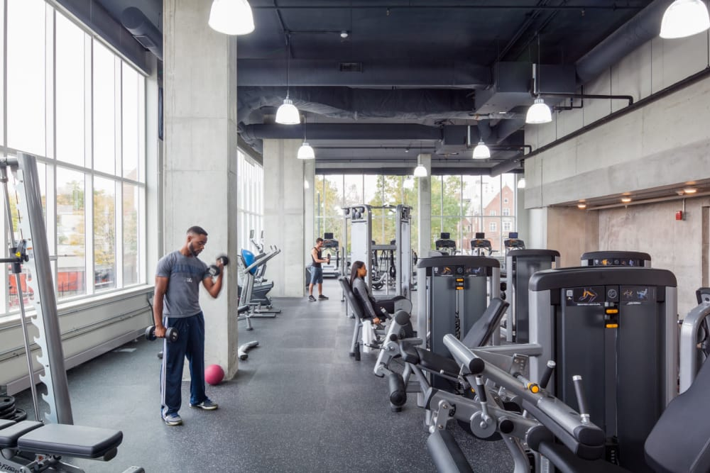Fully equipped fitness center at HERE Champaign in Champaign, Illinois
