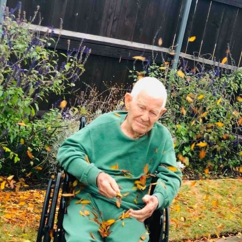 A Resident in a wheelchair sitting outside among falling leaves at Oxford Glen Memory Care at Sachse in Sachse, Texas