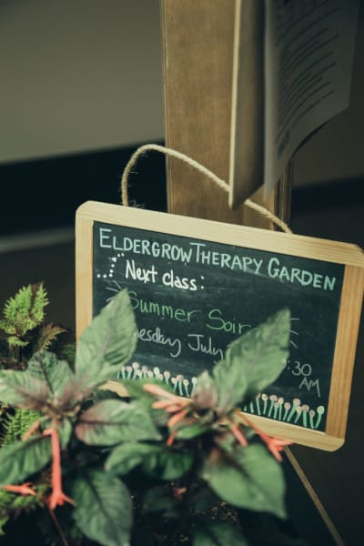 Eldergrow activity sign at Quail Park Memory Care Residences of Visalia in Visalia, California