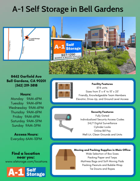 A-1 Self Storage in Bell Gardens, California on Garfield Avenue provides a wide range of amenities and features to facilitate the solution to your self storage problem.