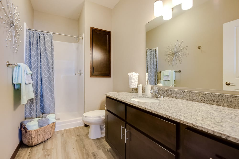 Bathroom with a shower at Remington Cove Apartments in Apple Valley, Minnesota
