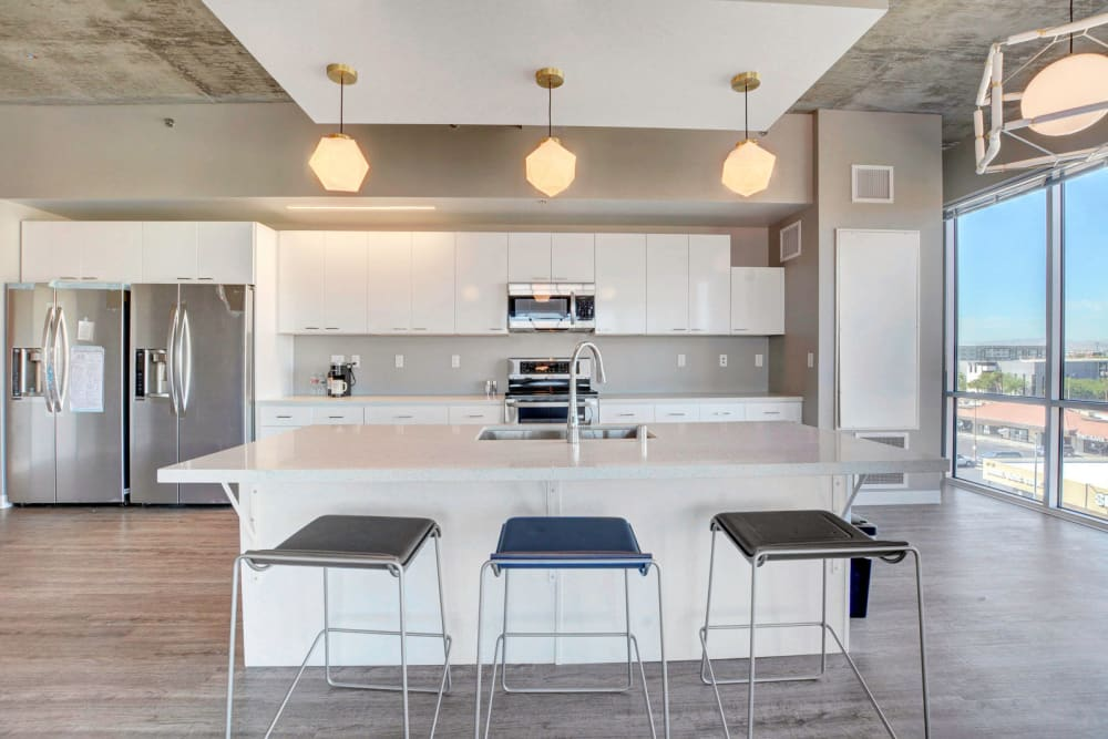 Kitchen with island at the yoU in Las Vegas, Nevada