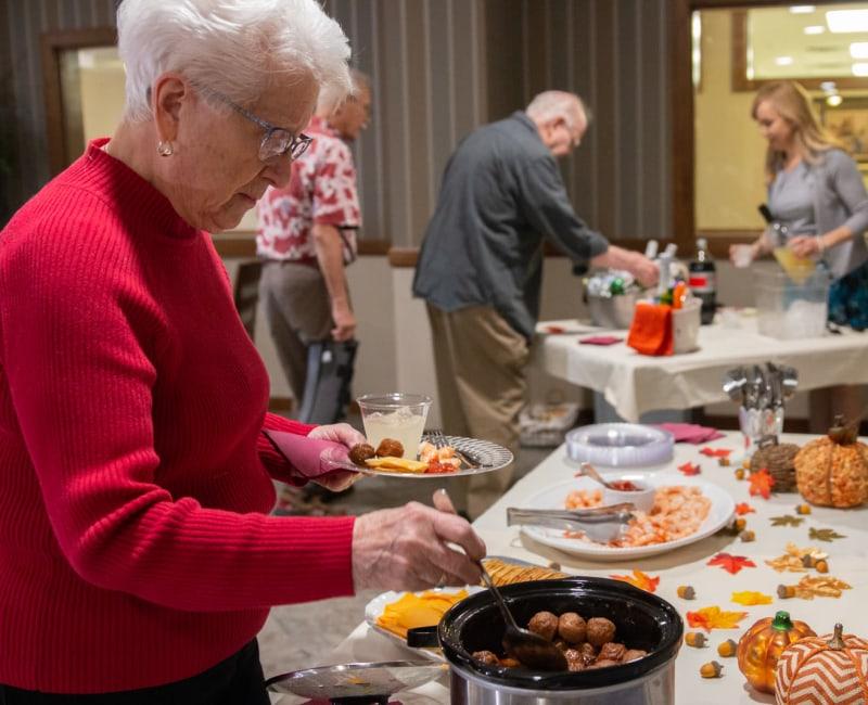 Residents enjoying a buffet at Aurora on France in Edina, Minnesota