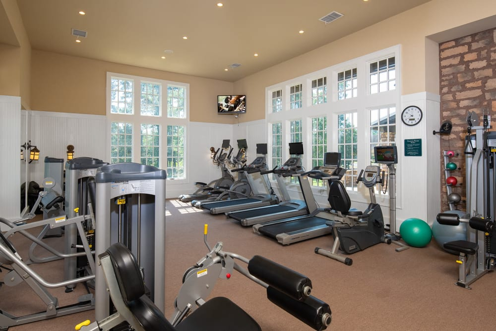 Fitness center at The Cottages of Hattiesburg in Hattiesburg Mississippi
