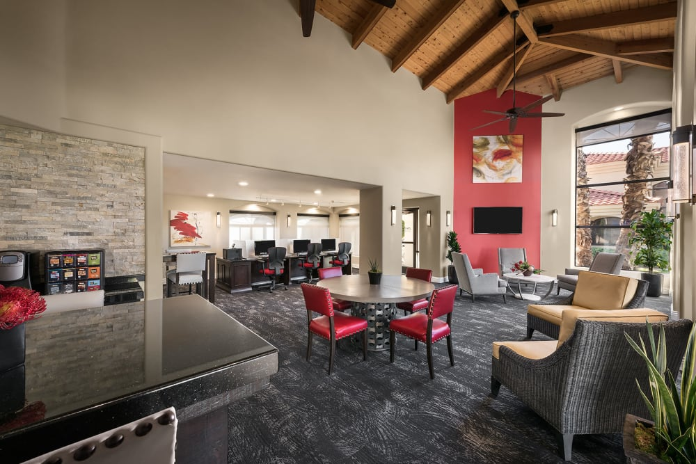Resident clubhouse and business center at San Palmilla in Tempe, Arizona