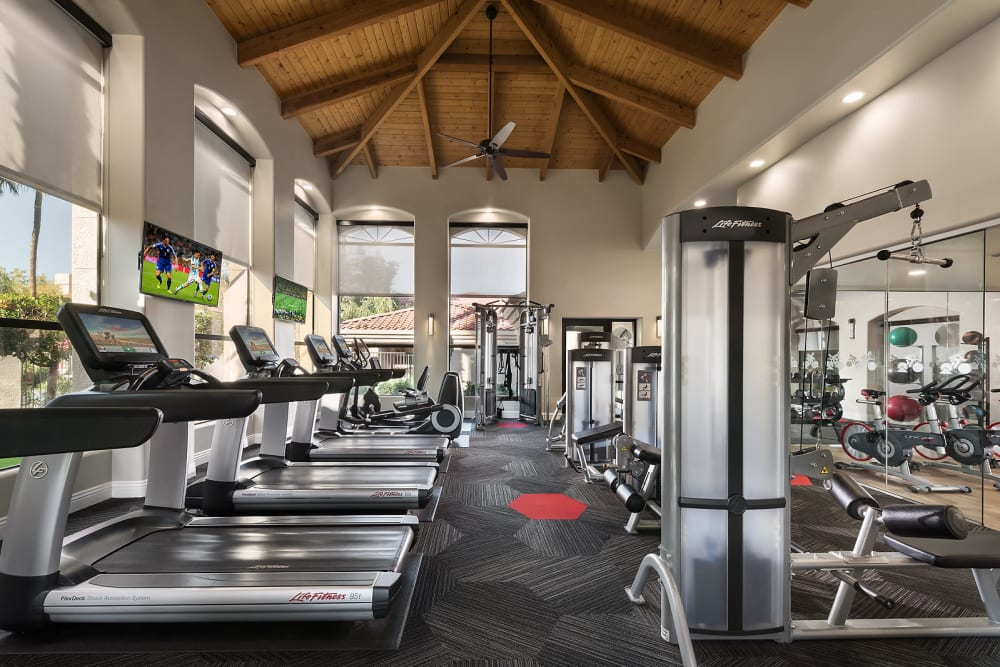 Fully equipped fitness center at San Palmilla in Tempe, Arizona