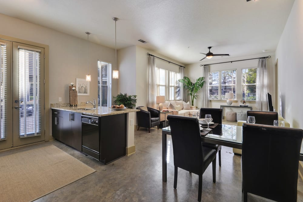 Dining and Kitchen at the Optimist Lofts Apartments