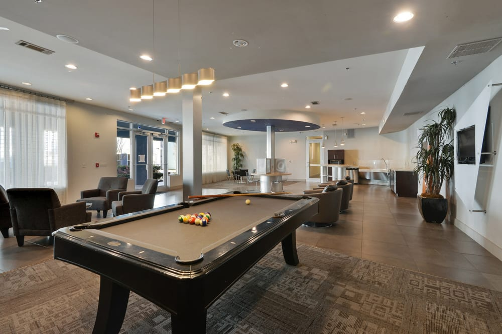 Lobby View with Billiards at the Optimist Lofts